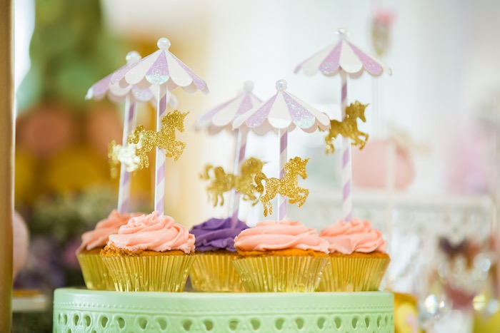 Carousel cupcakes from a Pastel Carousel Birthday Party on Kara's Party Ideas | KarasPartyIdeas.com (41)