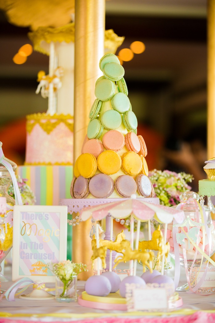 Macaron tower from a Pastel Carousel Birthday Party on Kara's Party Ideas | KarasPartyIdeas.com (40)
