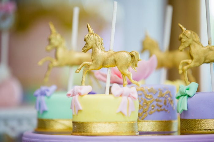Mini carousel cakes from a Pastel Carousel Birthday Party on Kara's Party Ideas | KarasPartyIdeas.com (38)