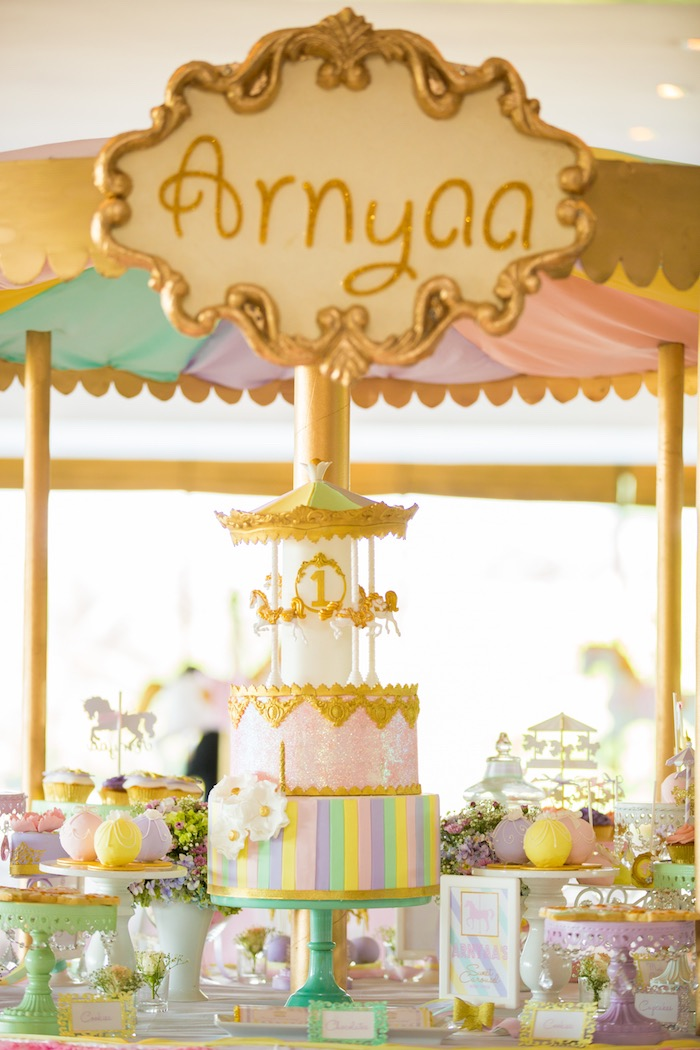 Carousel cake from a Pastel Carousel Birthday Party on Kara's Party Ideas | KarasPartyIdeas.com (37)
