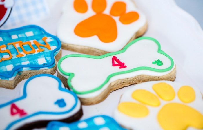 Paw print and dog bone cookies from a Paw Patrol Birthday Party on Kara's Party Ideas | KarasPartyIdeas.com (29)