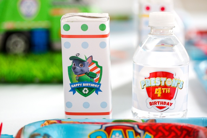 Paw Patrol juice box and water bottle from a Paw Patrol Birthday Party on Kara's Party Ideas | KarasPartyIdeas.com (26)
