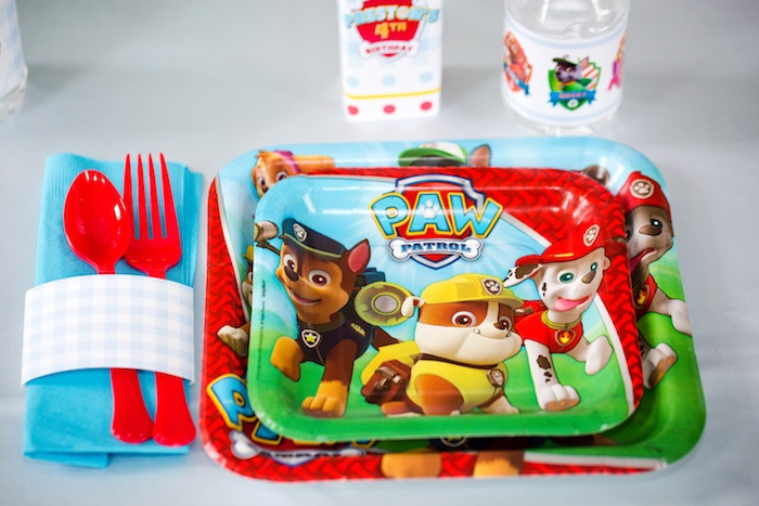 Place setting + Paw Patrol plates/partyware from a Paw Patrol Birthday Party on Kara's Party Ideas | KarasPartyIdeas.com (22)