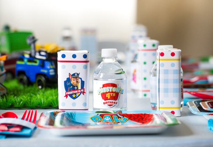 Paw Patrol place setting from a Paw Patrol Birthday Party on Kara's Party Ideas | KarasPartyIdeas.com (38)
