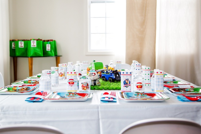 Party table from a Paw Patrol Birthday Party on Kara's Party Ideas | KarasPartyIdeas.com (17)