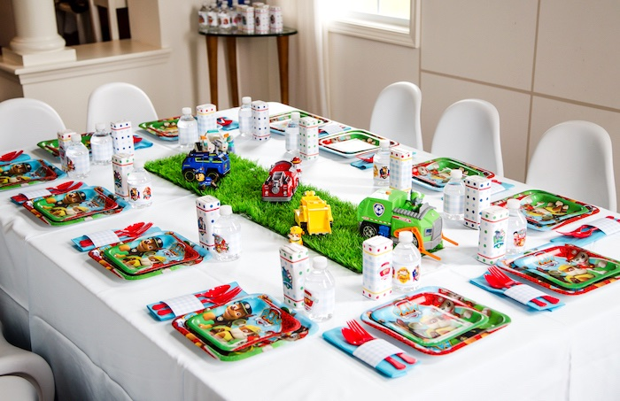 Kids table from a Paw Patrol Birthday Party on Kara's Party Ideas | KarasPartyIdeas.com (16)