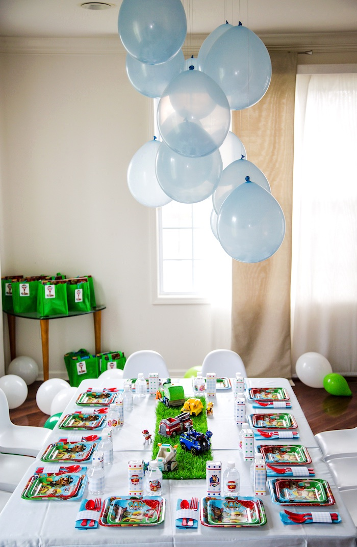 Party table from a Paw Patrol Birthday Party on Kara's Party Ideas | KarasPartyIdeas.com (15)
