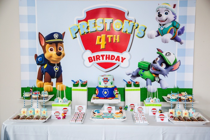 Paw Patrol dessert table from a Paw Patrol Birthday Party on Kara's Party Ideas | KarasPartyIdeas.com (14)