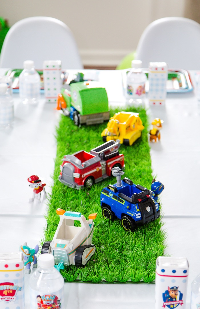 Faux grass runner & utility cars from a Paw Patrol Birthday Party on Kara's Party Ideas | KarasPartyIdeas.com (9)