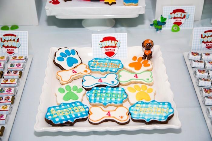 Zuma's Paw Patrol cookies from a Paw Patrol Birthday Party on Kara's Party Ideas | KarasPartyIdeas.com (8)