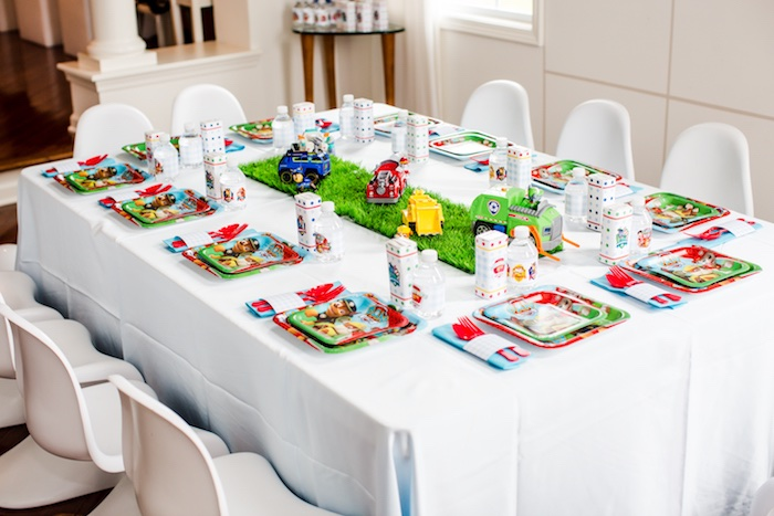 Kids table from a Paw Patrol Birthday Party on Kara's Party Ideas | KarasPartyIdeas.com (5)