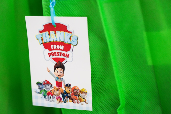 Paw Patrol favor bag tag from a Paw Patrol Birthday Party on Kara's Party Ideas | KarasPartyIdeas.com (36)