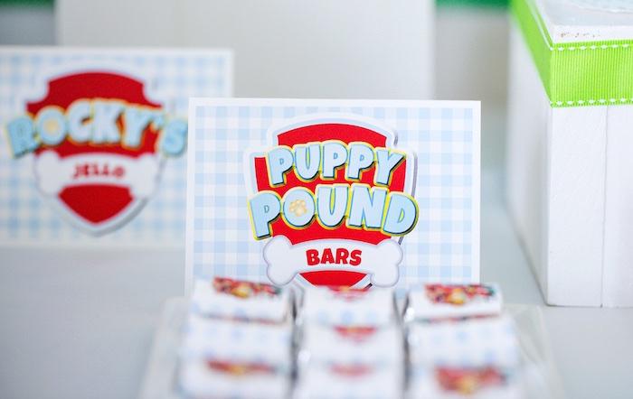 Mini chocolate Puppy Pound bars label from a Paw Patrol Birthday Party on Kara's Party Ideas | KarasPartyIdeas.com (33)