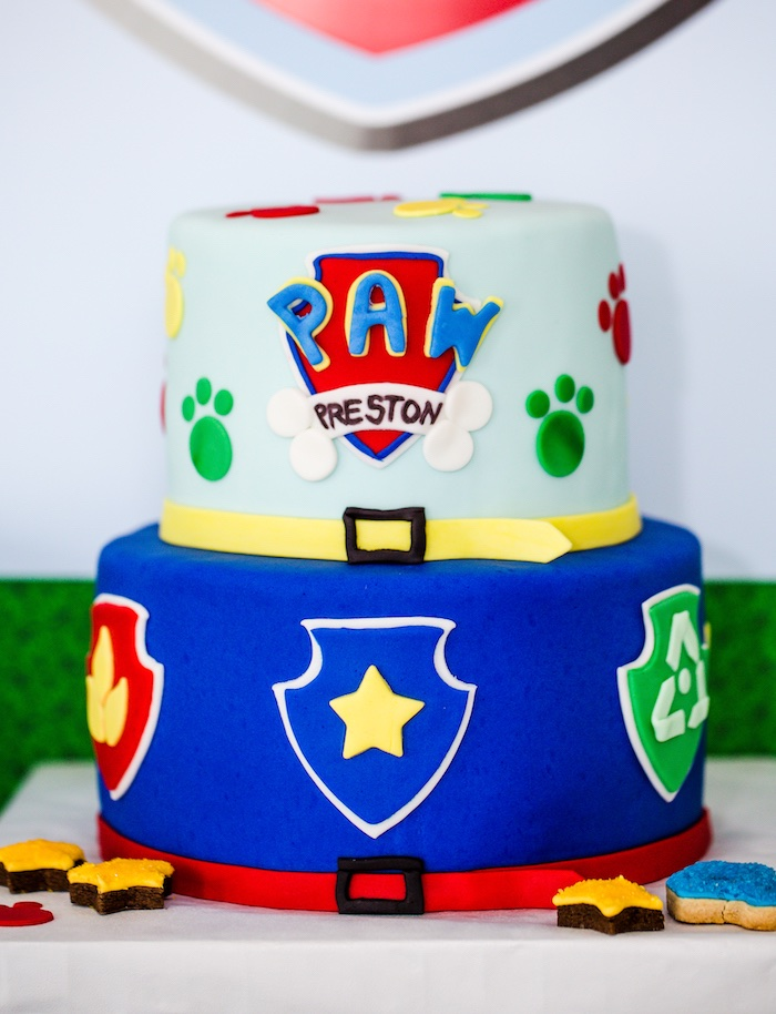 Paw Patrol cake from a Paw Patrol Birthday Party on Kara's Party Ideas | KarasPartyIdeas.com (30)