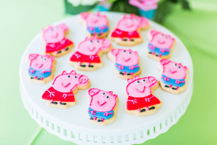 Peppa Pig cookies from a Peppa Pig Birthday Party on Kara's Party Ideas | KarasPartyIdeas.com (39)