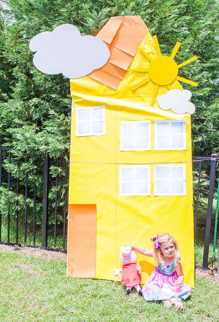 Peppa Pig house from a Peppa Pig Birthday Party on Kara's Party Ideas | KarasPartyIdeas.com (33)