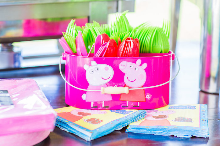 Utensils + partyware from a Peppa Pig Birthday Party on Kara's Party Ideas | KarasPartyIdeas.com (31)