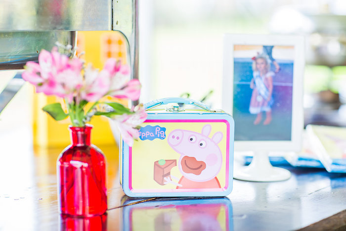 Peppa Pig lunchbox used for decor at a Peppa Pig Birthday Party on Kara's Party Ideas | KarasPartyIdeas.com (30)