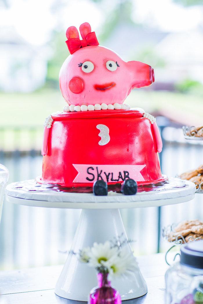 Peppa Pig cake from a Peppa Pig Birthday Party on Kara's Party Ideas | KarasPartyIdeas.com (27)