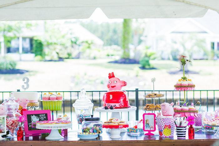 Sweet table from a Peppa Pig Birthday Party on Kara's Party Ideas | KarasPartyIdeas.com (25)