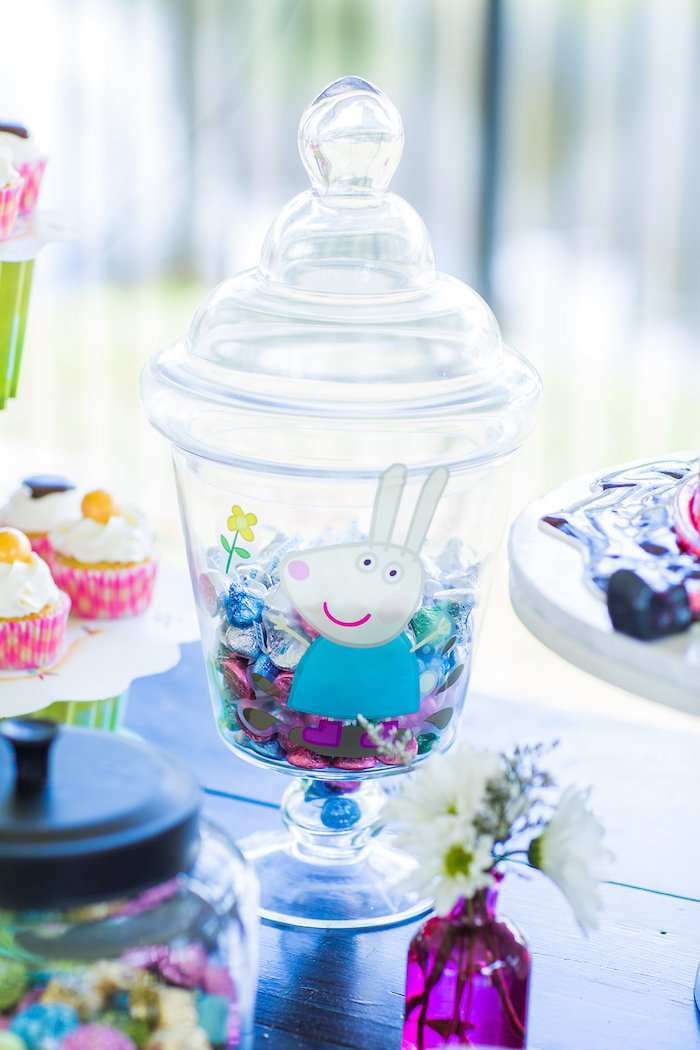 Rebecca Rabbit apothecary jar from a Peppa Pig Birthday Party on Kara's Party Ideas | KarasPartyIdeas.com (23)