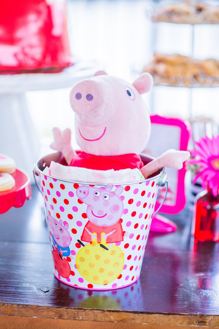 Peppa Pig plush in a bucket from a Peppa Pig Birthday Party on Kara's Party Ideas | KarasPartyIdeas.com (20)