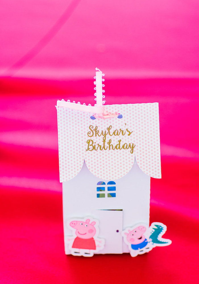 Peppe Pig's House - favor bags from a Peppa Pig Birthday Party on Kara's Party Ideas | KarasPartyIdeas.com (17)