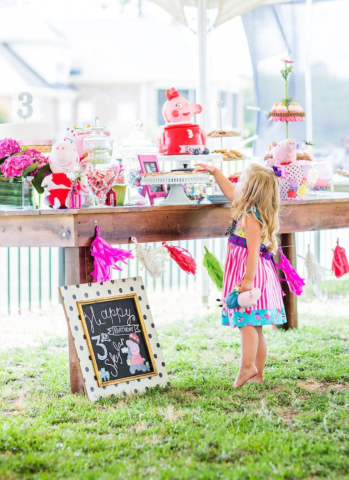 Peppa Pig dessert table from a Peppa Pig Birthday Party on Kara's Party Ideas | KarasPartyIdeas.com (14)