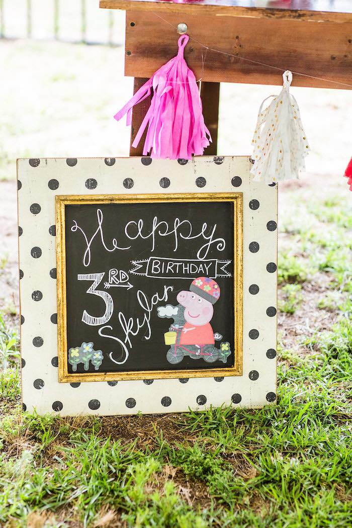 Chalkboard sign + print from a Peppa Pig Birthday Party on Kara's Party Ideas | KarasPartyIdeas.com (43)