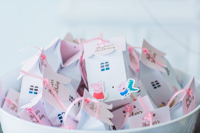 Peppa Pig favor boxes from a Peppa Pig Birthday Party on Kara's Party Ideas | KarasPartyIdeas.com (42)