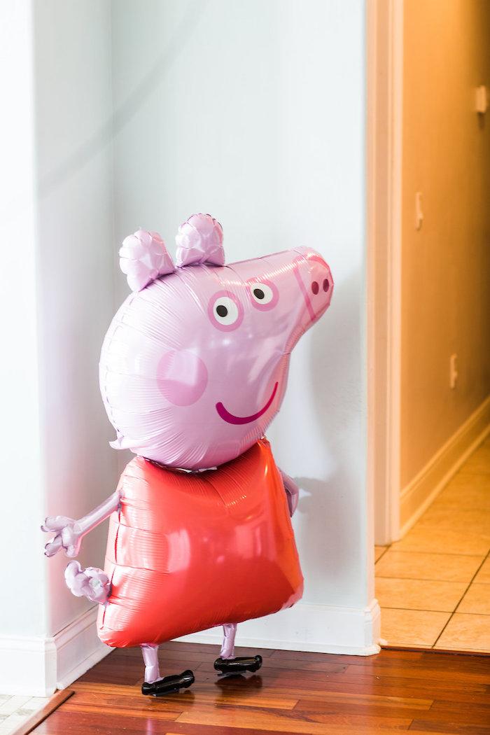Mylar Peppa Pig balloon from a Peppa Pig Birthday Party on Kara's Party Ideas | KarasPartyIdeas.com (40)