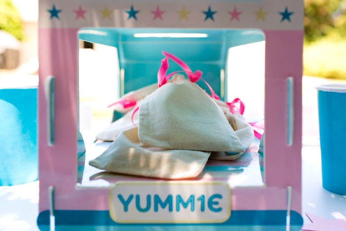 Mini muslin favor bags from a Pink & Blue Summer Ice Cream Party on Kara's Party Ideas | KarasPartyIdeas.com (10)