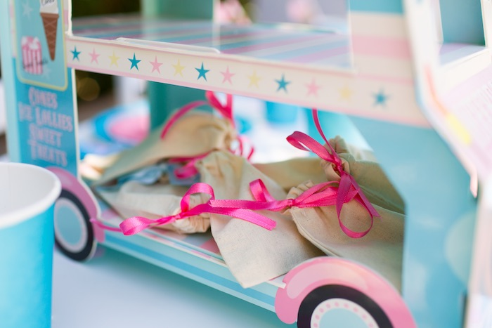Mini muslin favor bags from a Pink & Blue Summer Ice Cream Party on Kara's Party Ideas | KarasPartyIdeas.com (9)
