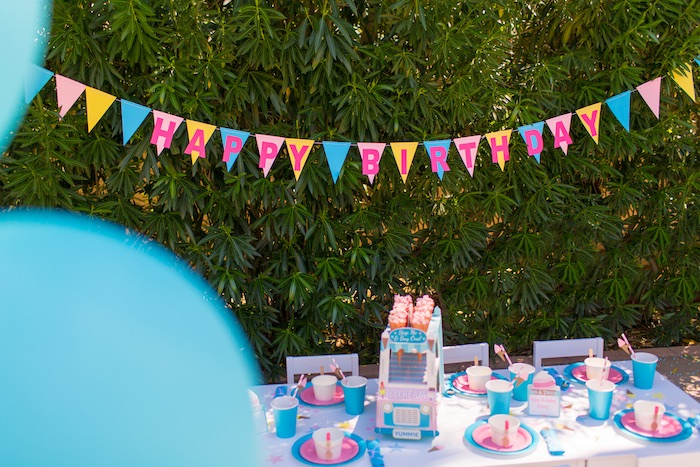 Party table from a Pink & Blue Summer Ice Cream Party on Kara's Party Ideas | KarasPartyIdeas.com (7)