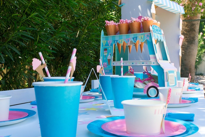 Ice cream truck favor cone & sweet stand from a Pink & Blue Summer Ice Cream Party on Kara's Party Ideas | KarasPartyIdeas.com (19)