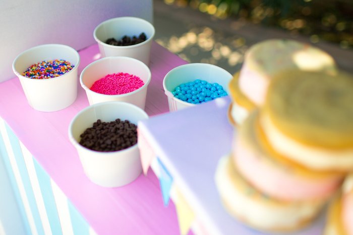 Cups of Sprinkles from a Pink & Blue Summer Ice Cream Party via Kara's Party Ideas | KarasPartyIdeas.com