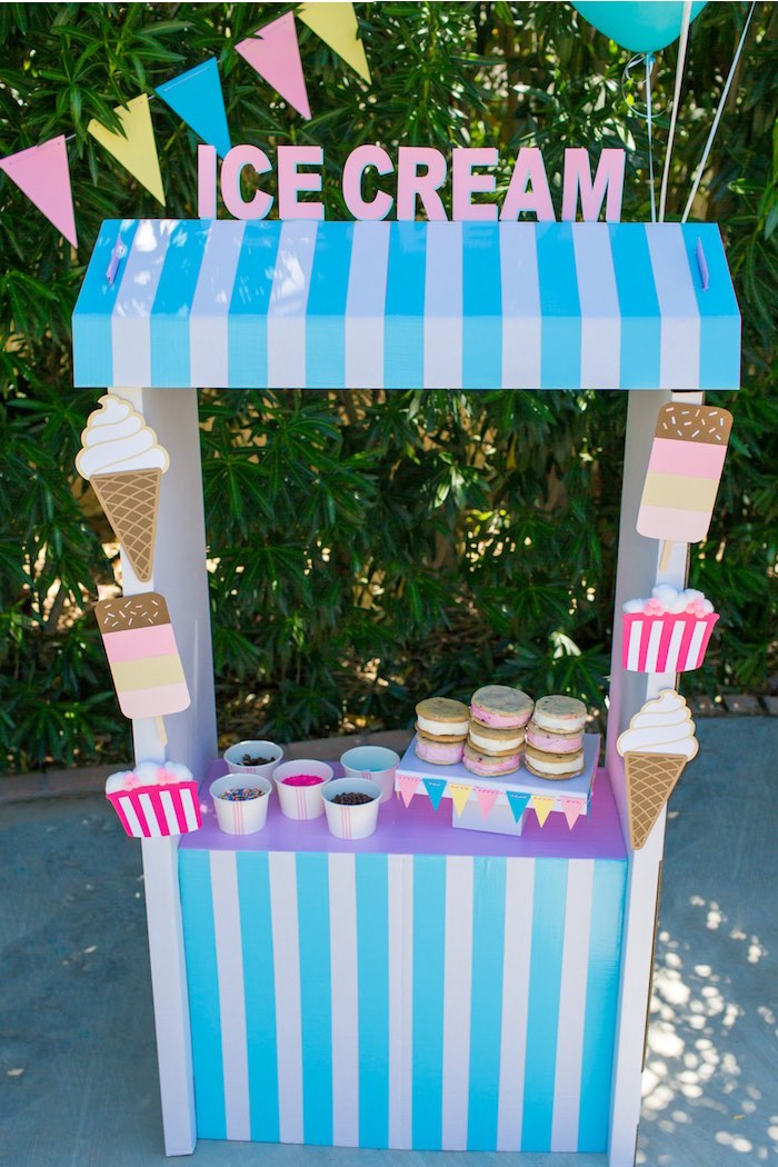 Ice Cream Stand from a Pink & Blue Summer Ice Cream Party on Kara's Party Ideas | KarasPartyIdeas.com
