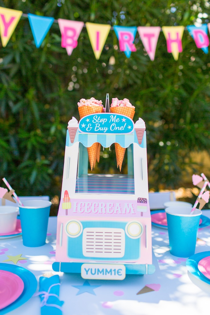 Ice cream truck favor cone + sweet stand from a Pink & Blue Summer Ice Cream Party on Kara's Party Ideas | KarasPartyIdeas.com (18)