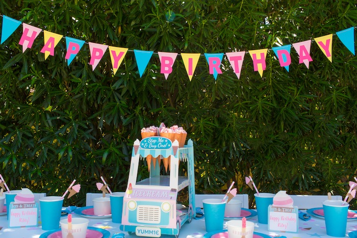 Happy Birthday Banner & Party Tablescape from a Pink & Blue Summer Ice Cream Party on Kara's Party Ideas | KarasPartyIdeas.com (15)