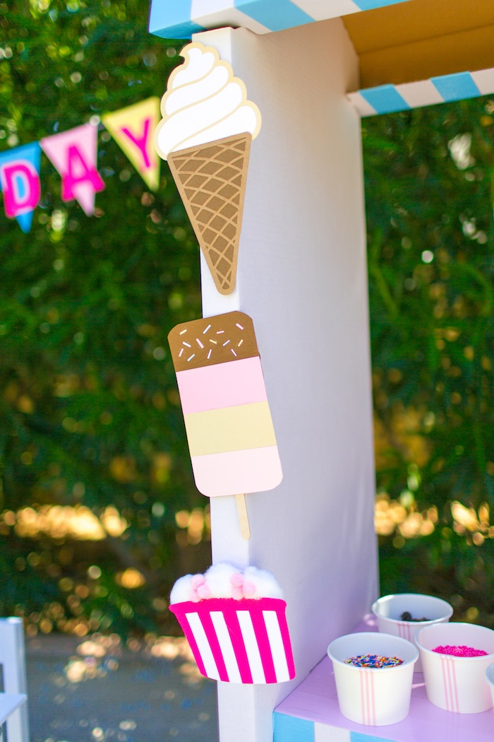 Ice cream banner + bunting from a Pink & Blue Summer Ice Cream Party on Kara's Party Ideas | KarasPartyIdeas.com (12)