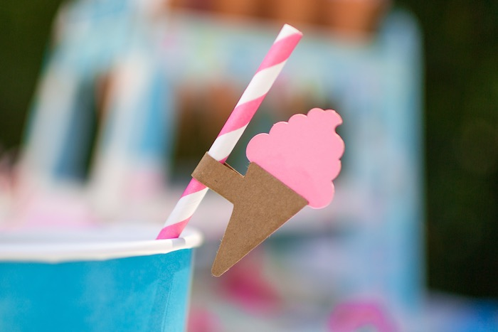 Ice cream cone straw flag from a Pink & Blue Summer Ice Cream Party on Kara's Party Ideas | KarasPartyIdeas.com (11)