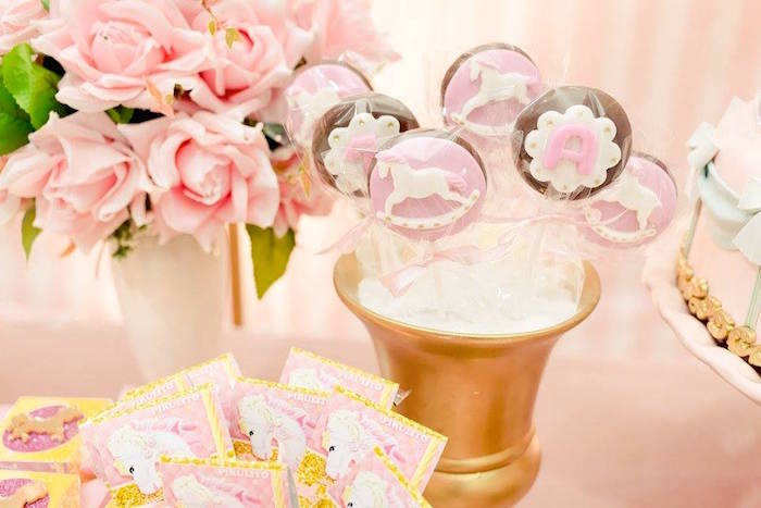Chocolate lollipops from a Pink Carousel Birthday Party on Kara's Party Ideas | KarasPartyIdeas.com (37)