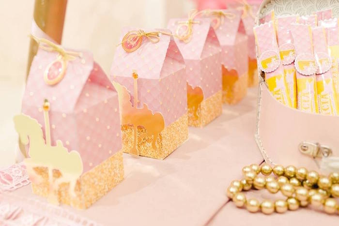 Carousel-inspired favor boxes from a Pink Carousel Birthday Party on Kara's Party Ideas | KarasPartyIdeas.com (34)