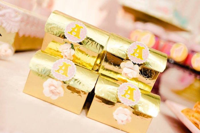 Gold favor boxes from a Pink Carousel Birthday Party on Kara's Party Ideas | KarasPartyIdeas.com (33)