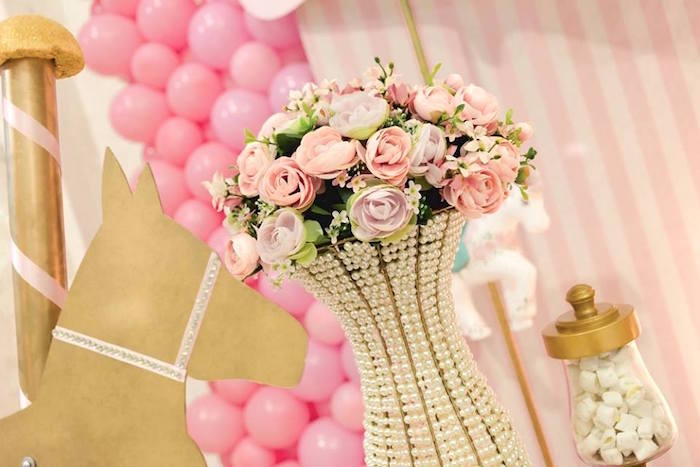 Pearl floral arrangement from a Pink Carousel Birthday Party on Kara's Party Ideas | KarasPartyIdeas.com (30)