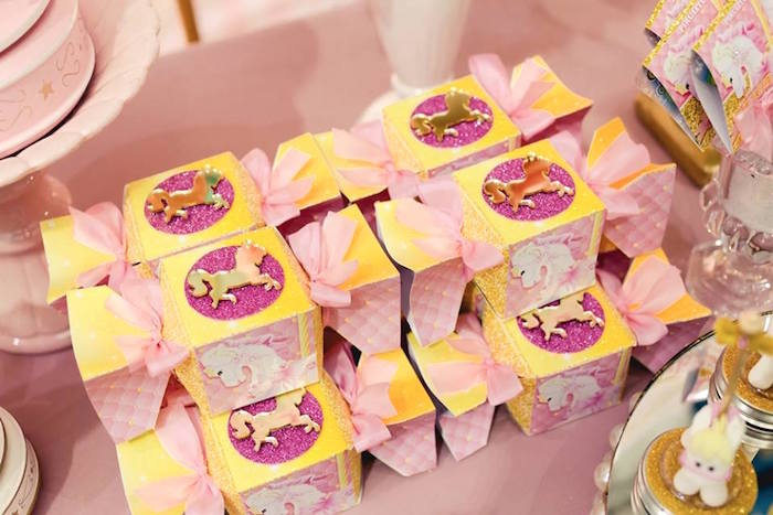 Favor boxes from a Pink Carousel Birthday Party on Kara's Party Ideas | KarasPartyIdeas.com (28)