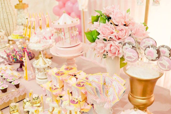Table details from a Pink Carousel Birthday Party on Kara's Party Ideas | KarasPartyIdeas.com (19)