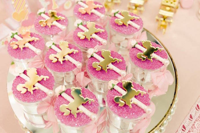 Pink + gold favors from a Pink Carousel Birthday Party on Kara's Party Ideas | KarasPartyIdeas.com (14)