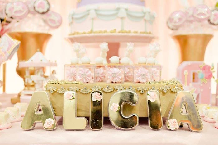 Gold block letters from a Pink Carousel Birthday Party on Kara's Party Ideas | KarasPartyIdeas.com (10)
