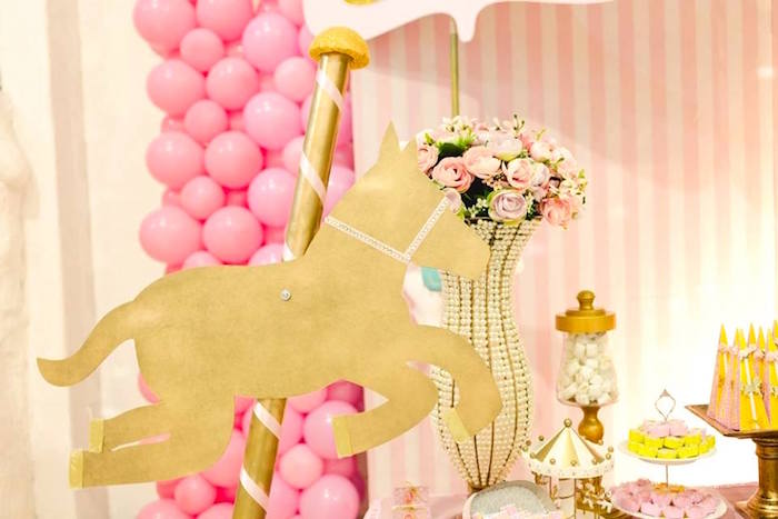 Gold carousel horse from a Pink Carousel Birthday Party on Kara's Party Ideas | KarasPartyIdeas.com (5)